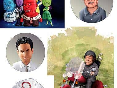 caricatures and mascots