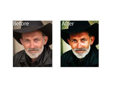 Before and after cowboy photo