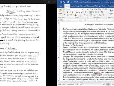 MS Word conversion from Hand written note