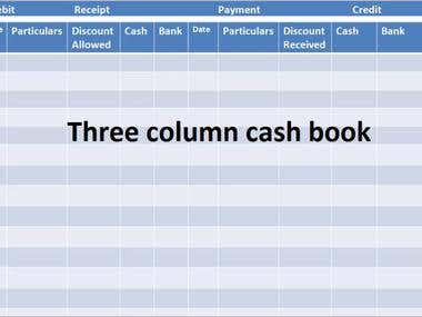 Three column cash book