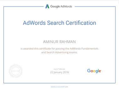 Adwords Search Advertising  Certification 2017-18
