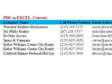 Convert PDF files to Microsoft Excel Documents