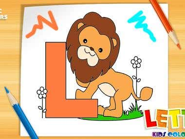 Letters Kids Coloring Book
