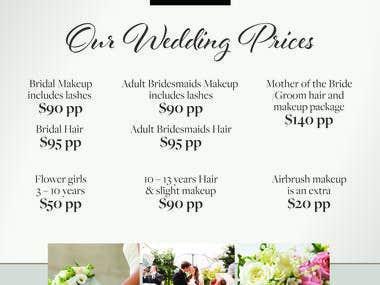 Wedding DL price list