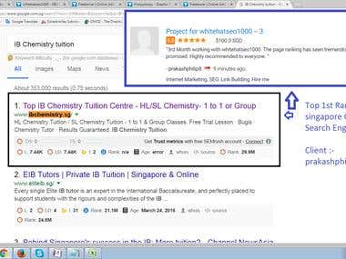 Top - 1st Page Ranking in Singapore Google Search Engine