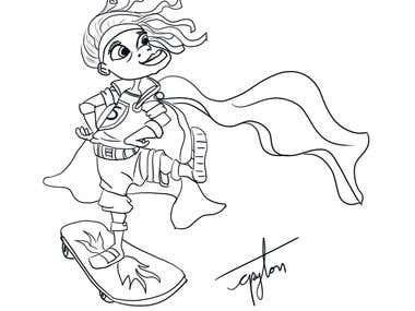 Super Hero Design line art