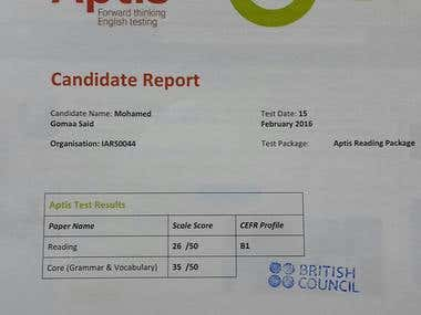 APTIS - English Certificate from the British Council