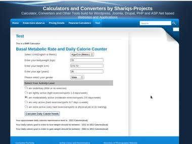 Basal Metabolic Rate(BMR) Calculator