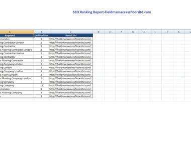 SEO Keyword Rank Report-fieldmansaccessfloorltd.com
