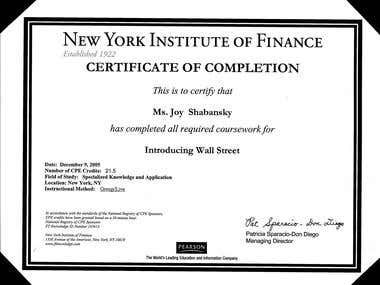 Introducing Wall Street Certificate of Completion