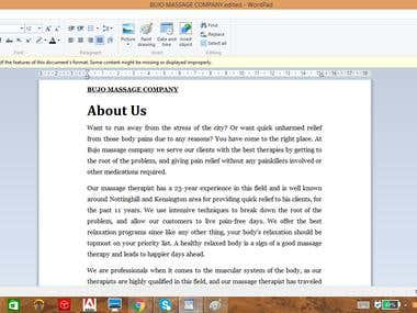 Web Content ( About Us Page /Home page )
