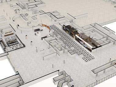 Food Court Floorplan and Restaurant 3D Renders