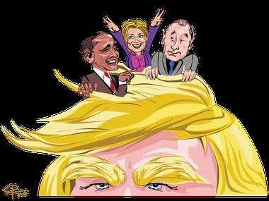 Political cartoon/caricature