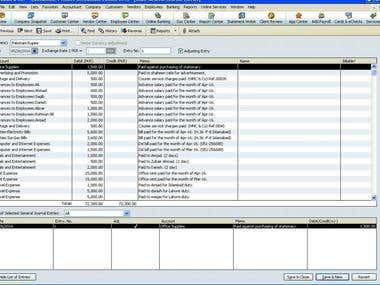 DATA ENTRY IN QUICKBOOK2010