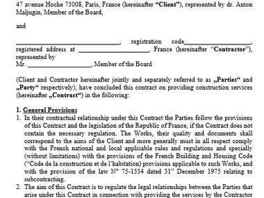 Translation of a contract from English into French