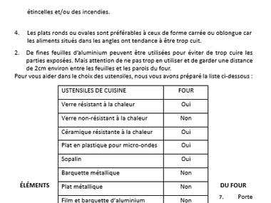 Translation of a user manual from English into French