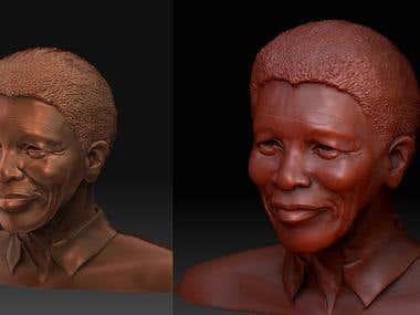 ZBrush sculpt of Nelson Mandela