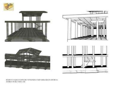 Structure of Villa in 3d
