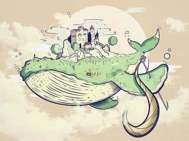 Magic whale - illustration