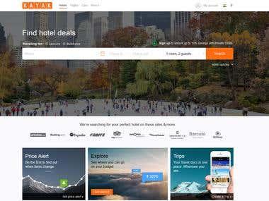 Kayak website design work(World's biggest tour & travel)
