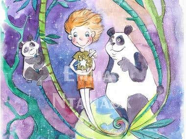 Watercolor children's book illustration