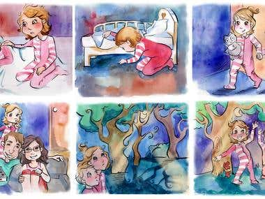 Watercolor children's book illustrations