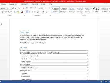 Typing document in MS Word.