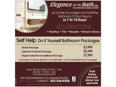 Advertising piece for bathroom remodel