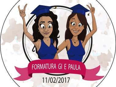 Cartoon illustration for graduation party