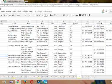 Data entry in google spreadsheets