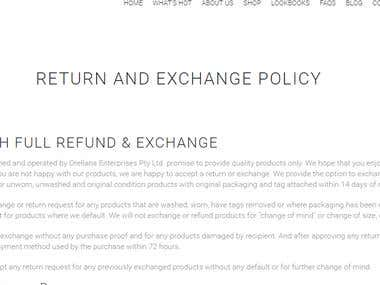 Return and Exchange Policy for Ecommerce Site