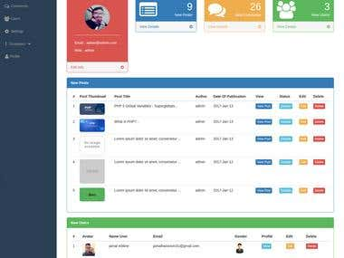 dashboard using php and jquery & ajax