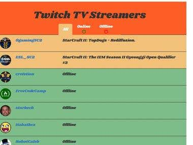 Twitch TV Streamers