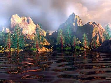 Mountain lake morning