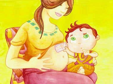 Ilustración para Concepto Revista Mamás y Niños
