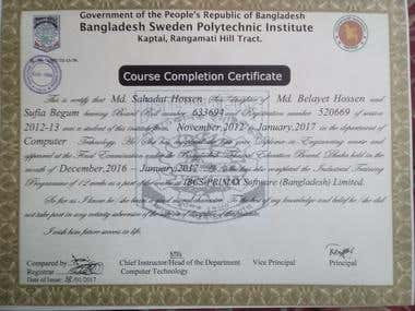 Diploma in Computer Technology certificate