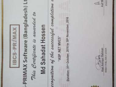 Asp.net with MVC certificate
