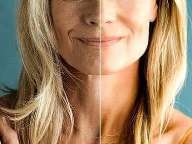 Mature woman's face - original and enhanced