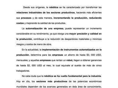 LA ROBÓTICA Y EL SECTOR PRODUCTIVO