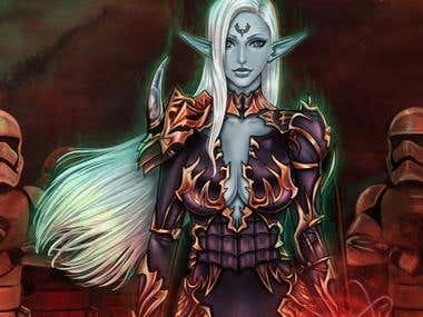 Digital illustration dark elf fantasy - close up