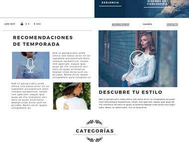Website mockup for a FASHION company