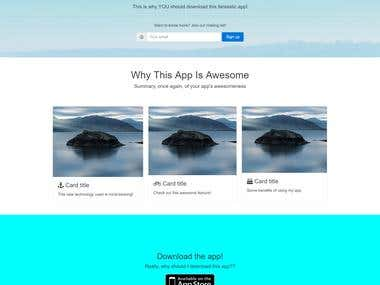 Web and App Landing Page