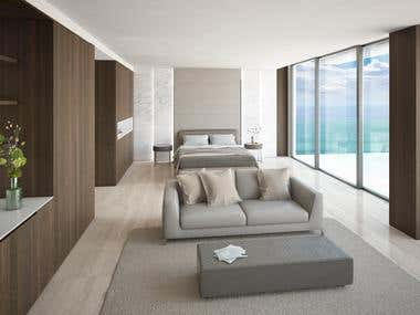 Interior design and 3d rendering of master bedroom in Miami