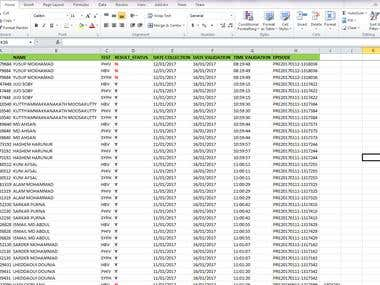 Data Extraction from database to excel and filtering