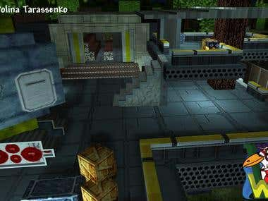 Block-style Sci-Fi level for mobile multiplayer FPS Game.