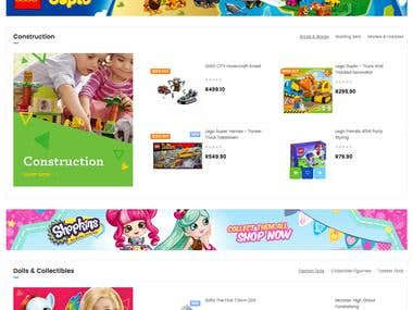 Online toys store website and native mobile app