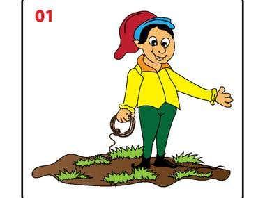 Cartoon Illustration.,
