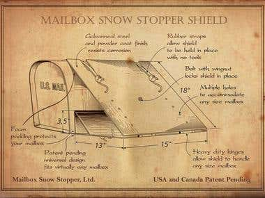 Line Drawing Plans for Mailbox Shield