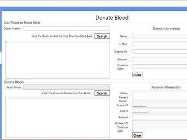 Desktop Based Application for Blood Bank.