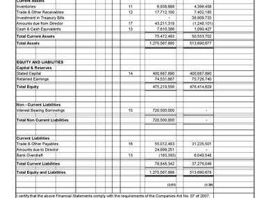 Sample for Financial Statement-